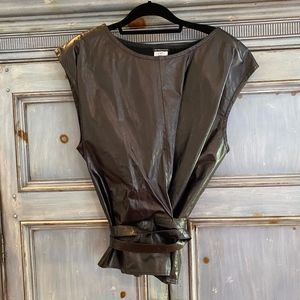 Ann Demeulemeester black leather top size 40 made